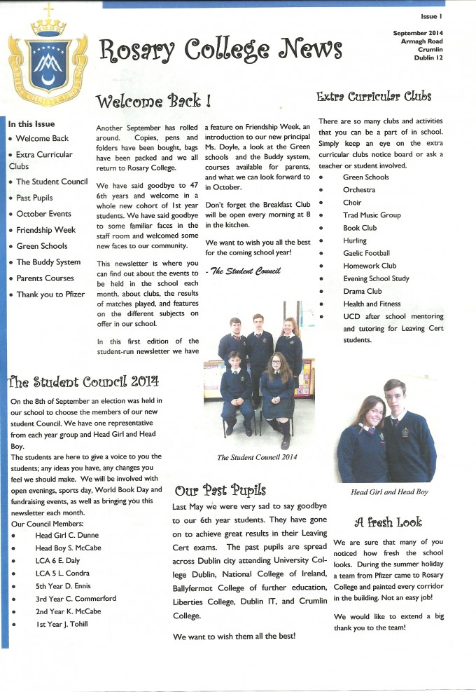 Rosary College Newsletter Issue 1 September 2014