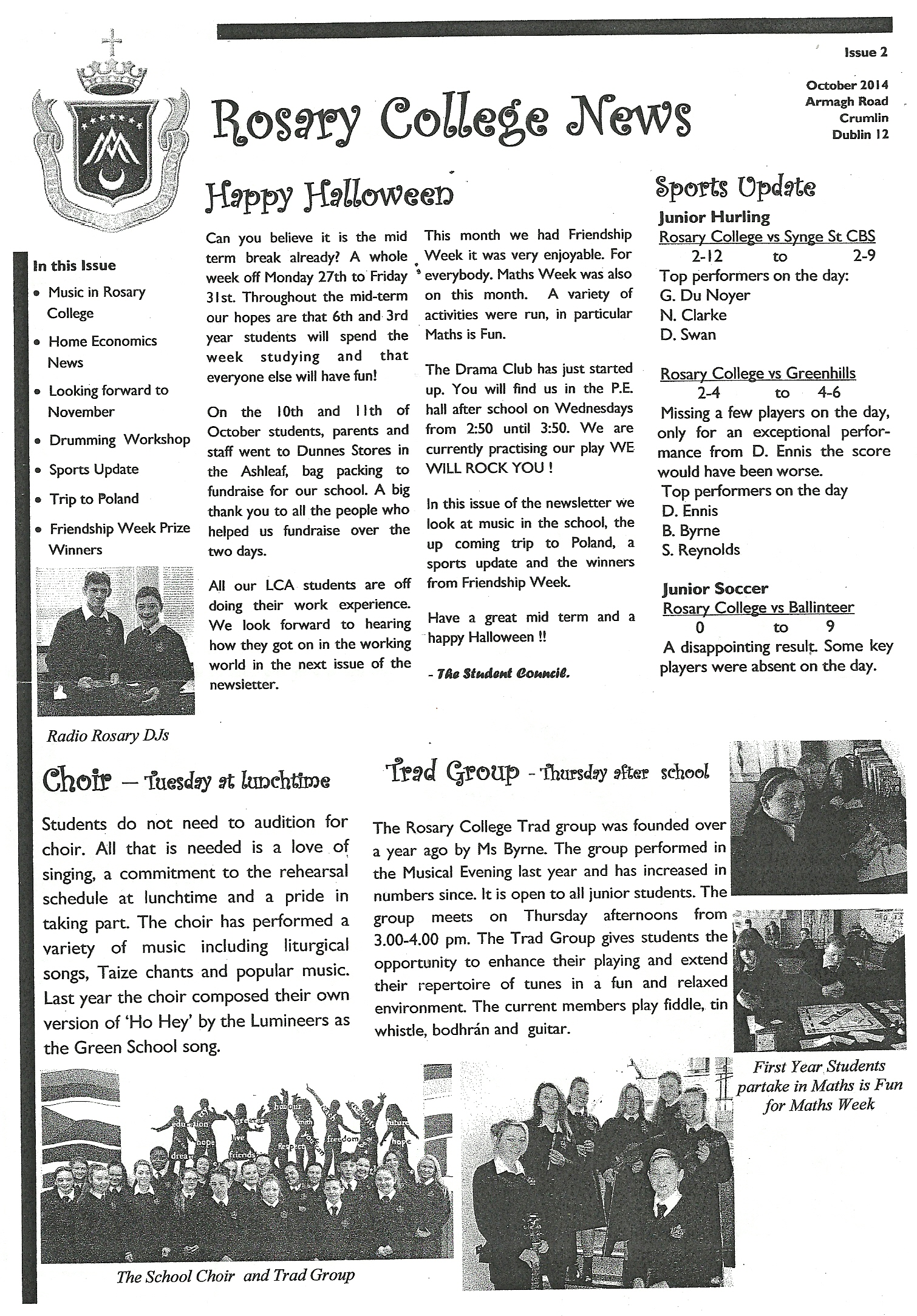 Rosary College Newsletter - Issue 2 - October 2014