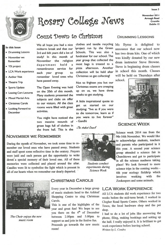 Rosary College News Issue 3 November 204