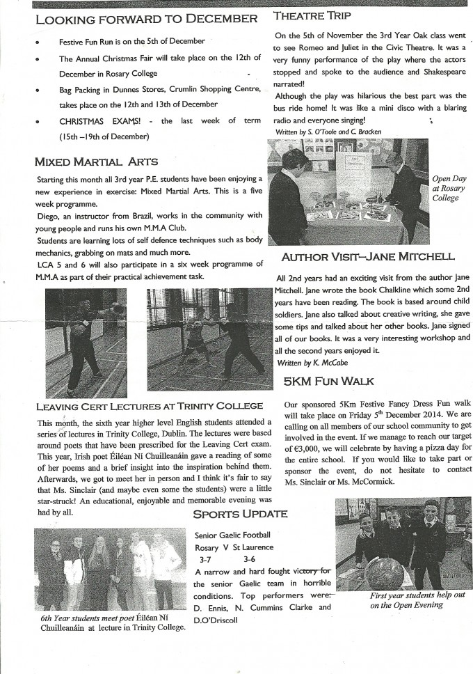 Rosary College Newsletter Issue 3 November 2014